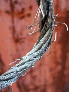 image of frayed lift cable